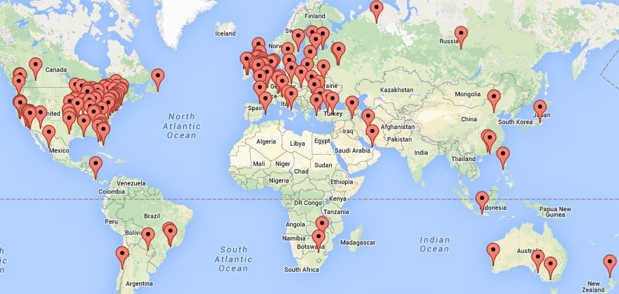 geographic map of visitors from search engine optimization